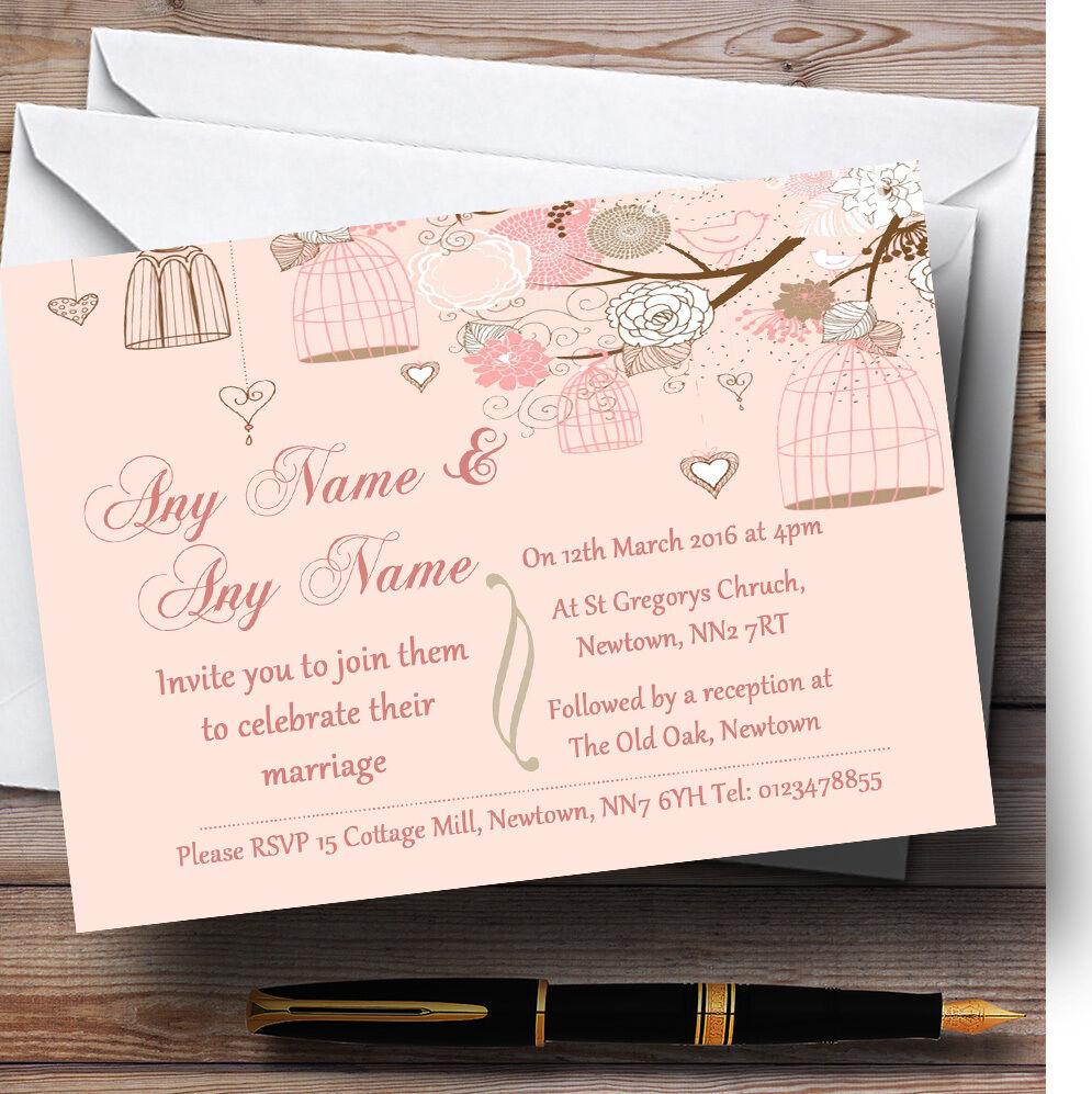 Coral Peach Vintage Birdcage Personalised Wedding Invitations