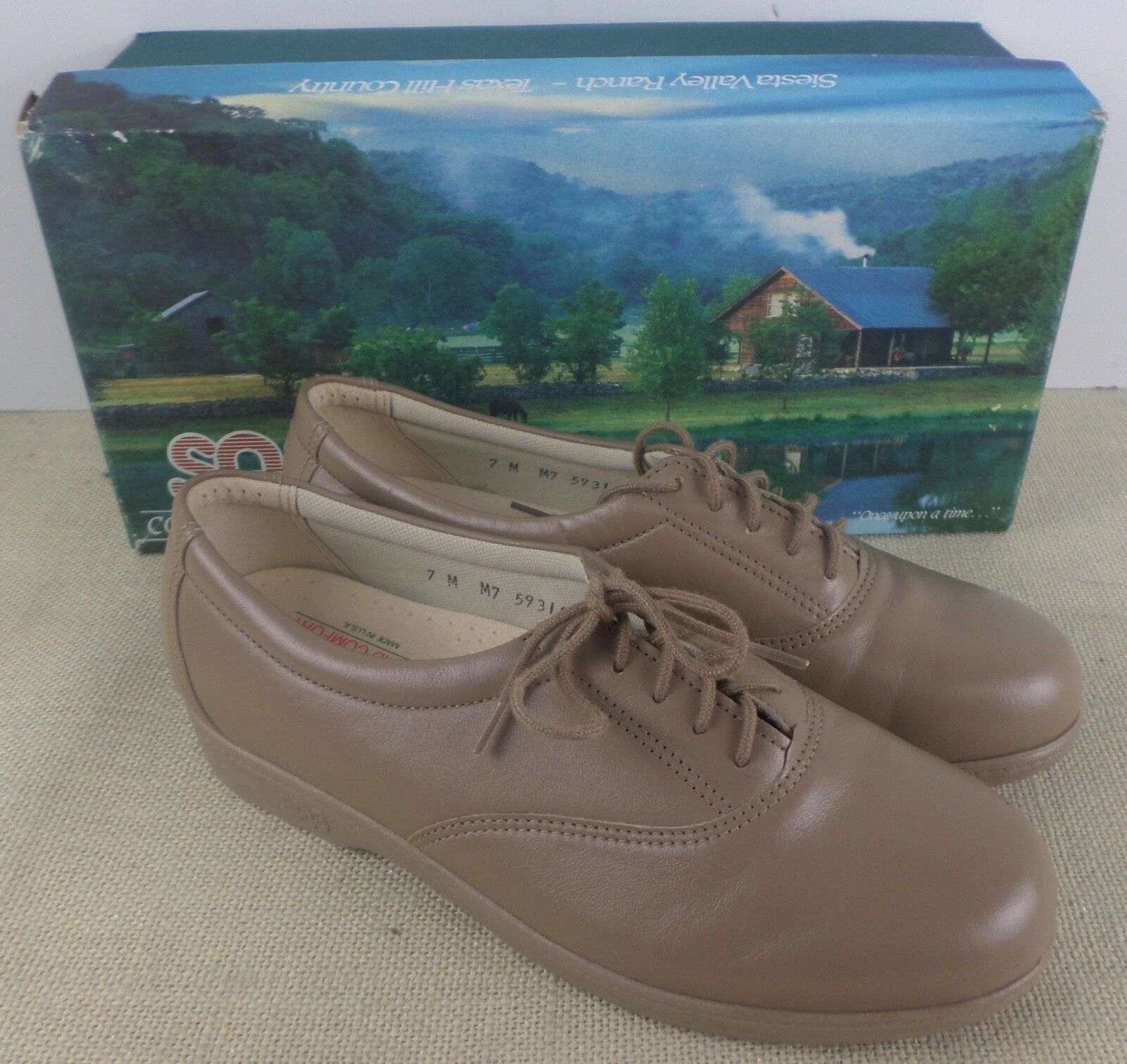 SAS WHISPER MOCHA WOMEN'S BEIGE LEATHER CASUAL SHOES NEW IN BOX MADE IN USA