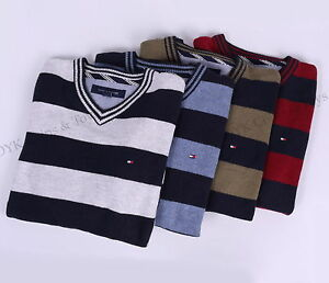 NEW-TOMMY-HILFIGER-MEN-GOLF-STYLE-CLASSIC-STRIPE-V-NECK-SWEATER-FREE-SHIPPING