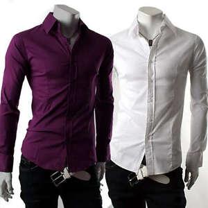 New-Mens-Casual-Luxury-Stylish-Dress-Slim-Shirts-ST50
