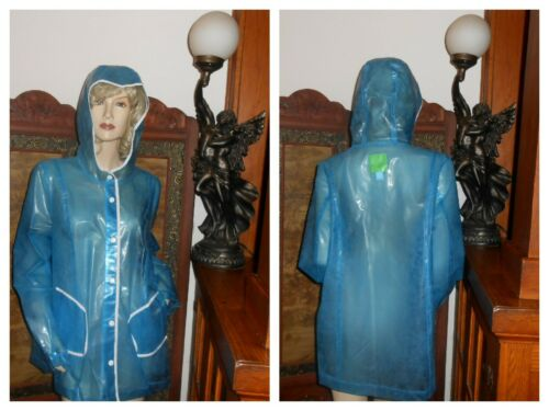 Vtg XL Blue PVC vinyl Raincoat Hooded plastic rain