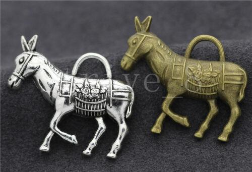 3//10//50pcs Tibetan Silver Exquisite Donkey Jewelry Charms Pendant DIY 34x29mm