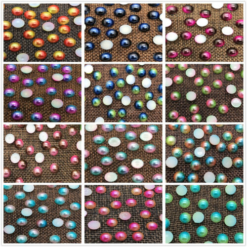 Half Round Two color Bead Flat Back Pearl Scrapbooking Embellishment 3//4//5//6//8mm