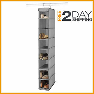 Details About Space Saver Hanging Shoe Storage Closet Organizer Hanger  Shelf Rack Gray/coffee