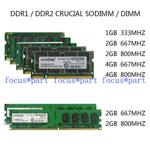 Cru-333-667-800mhz-1-2-4GB-DDR1-DDR2-Laptop-desktop-SODIMM-DIMM-Memory-Ram-lot