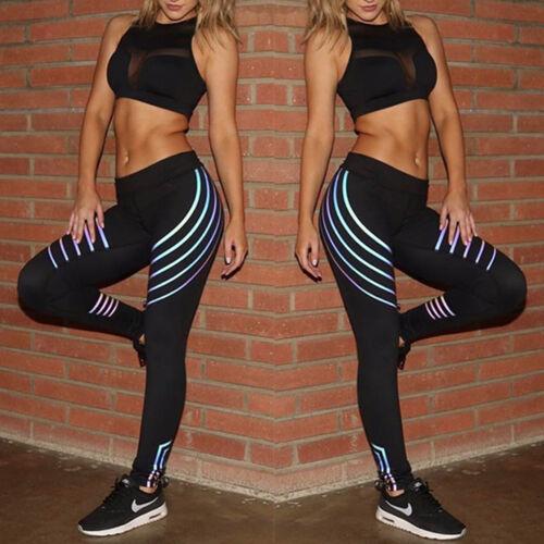 Women Sports Pants High Waist Yoga Fitness Leggings Running Reflective Trousers
