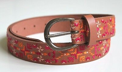 Women/'s M Chevron Embroidered Genuine Leather Waist Belt NWT Lucky Brand