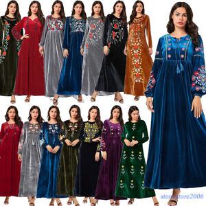 Mujer-Vestido-largo-de-terciopelo-Abaya-musulman-islamico-de-caftan-Bordado-Maxi-Bata-Jilbab
