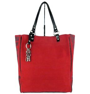 Auth Burberry London Blue Label Tote Hand Bag Red Cotton   Black ... 14c03e94e8d4e