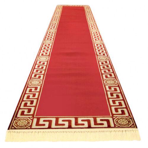 Exklusiver Mäander Teppich Läufer Rot K-Seide Meander Medusa Carpet versac