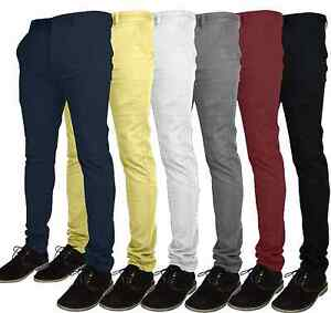 Mens-Designer-Chino-Trousers-Stretch-Skinny-Slim-Fit-Jeans-Pant-Cotton-All-size