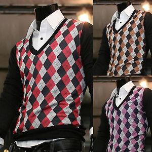 b490bb745f64 Mens Modern V-neck Argyle Long-sleeve Sweater Knit Vest Cardigan ...
