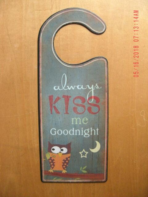 New Always Kiss Me Goodnight Door Hanging Sign Metal Door Hanger For Sale