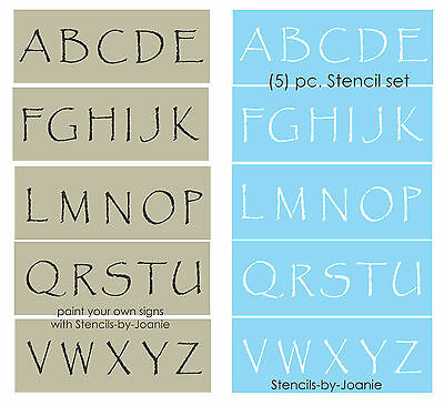 "Stencil Primitive Papyrus Alphabet 2"" tall Capital Letters Country Rustic Signs"