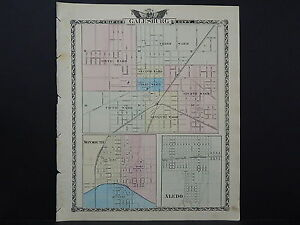 Illinois Map 1876 Galesburg Monmouth Aledo And Others L15 60 Ebay