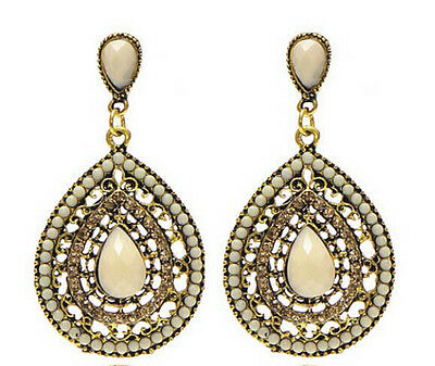 Fashion Bohemia Elegant Rhinestone Resin Beads Water Drop Dangle Stud Earring