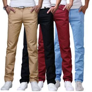 Mens-Cotton-Casual-Formal-Plain-Chino-Pants-Slim-Fit-Straight-Leg-Trousers-Slack