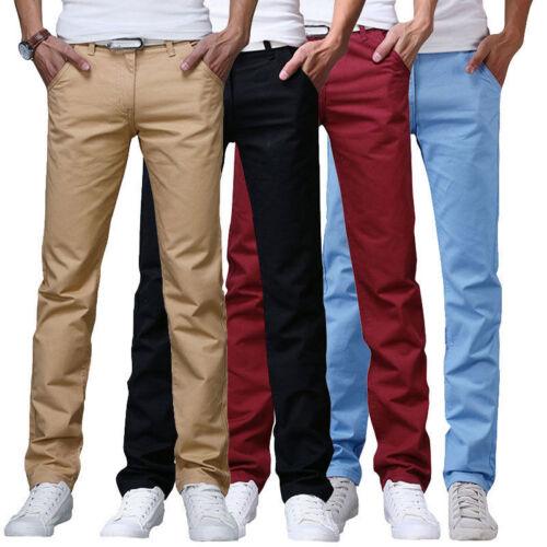 Mens Cotton Casual Formal Plain Chino Pants Slim Fit Straight Leg Trousers Slack
