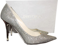 Jimmy Choo 'abel' Pointy Toe Pump Bronze Glitter Gold Heel Shoe 39.5 - 9