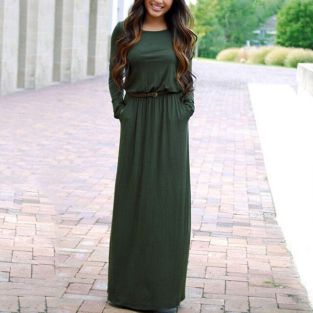 Women Maxi Dress Full Length Boat Neck Long Sleeve Evening Party Belted Bohemian