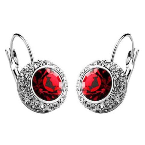 1 Paar Damenmode Ohrstecker Ohrring Silber Rot Q3T2