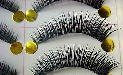 10 Pairs Handmade Natural Fake False Eyelashes Eye Lashes Jet Black