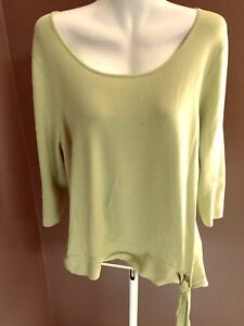 COLDWATER-CREEK-Size-1X-Lime-Rayon-Nylon-Knit-Top-Stretchy-3-4-Sleeve-PLUS-18-20