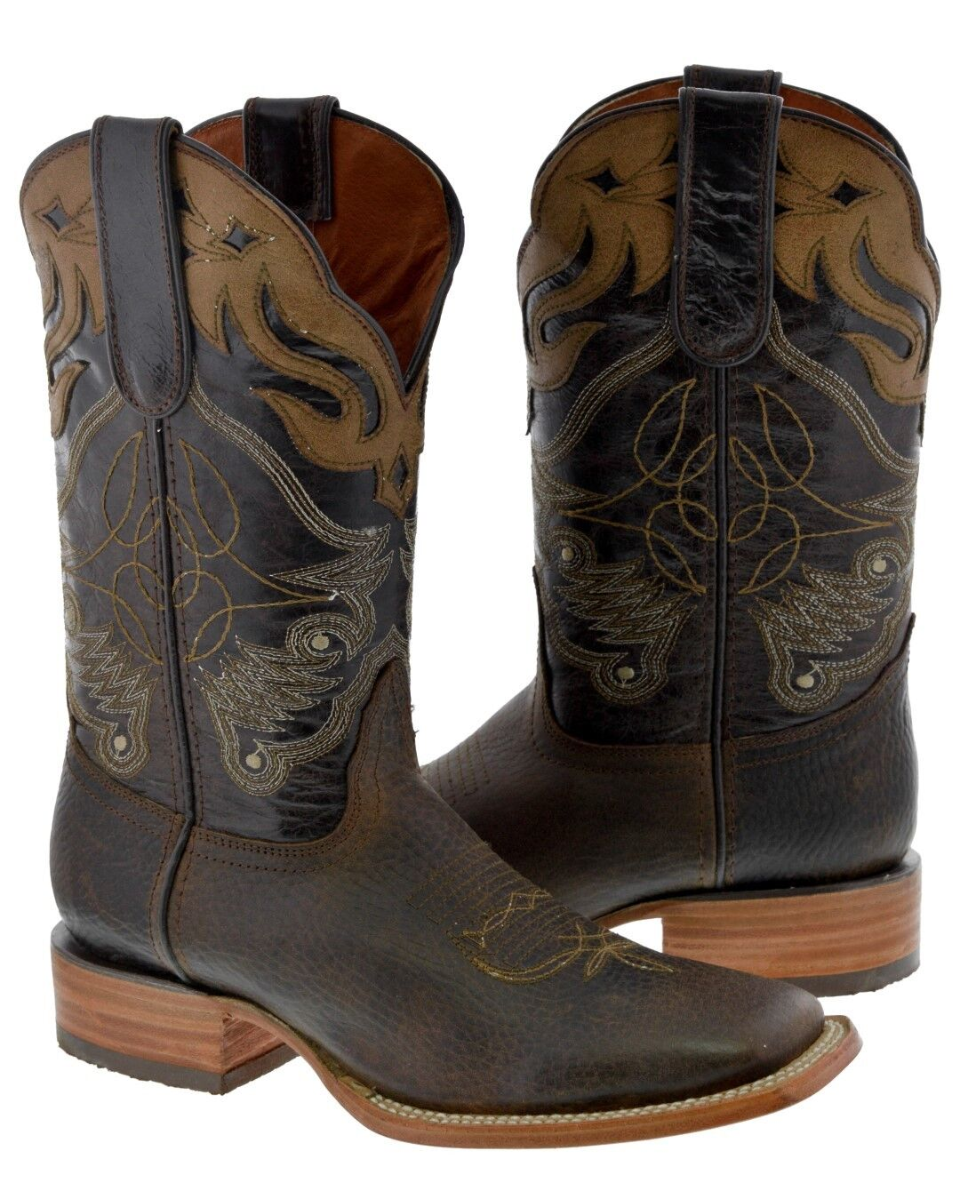 dd798a1037f Cowboy Leather Genuine Design Overlay Brown Almond Mens Boots Square ...