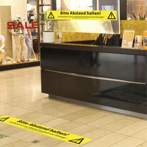 1 Stück rutschfester Fußboden Aufkleber Coron Vir 120 x 15 cm ABSTAND HALTEN