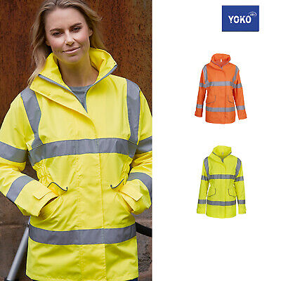 Yoko Hi-vis Women's Executive Jacket Hvp189 - Ladies Water/windproof Safety Wear Modernes Design