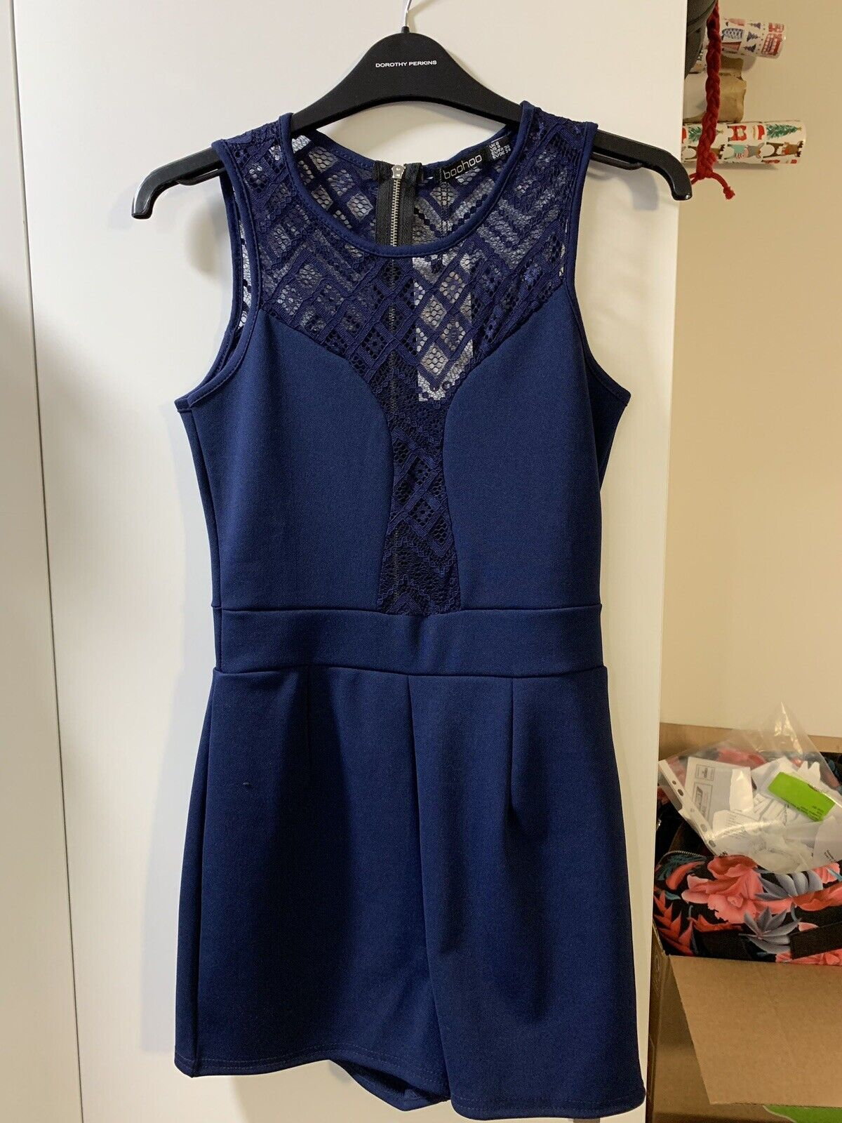 BRAND NEW Navy bluee Rosina Lace Insert Playsuit (UK8)