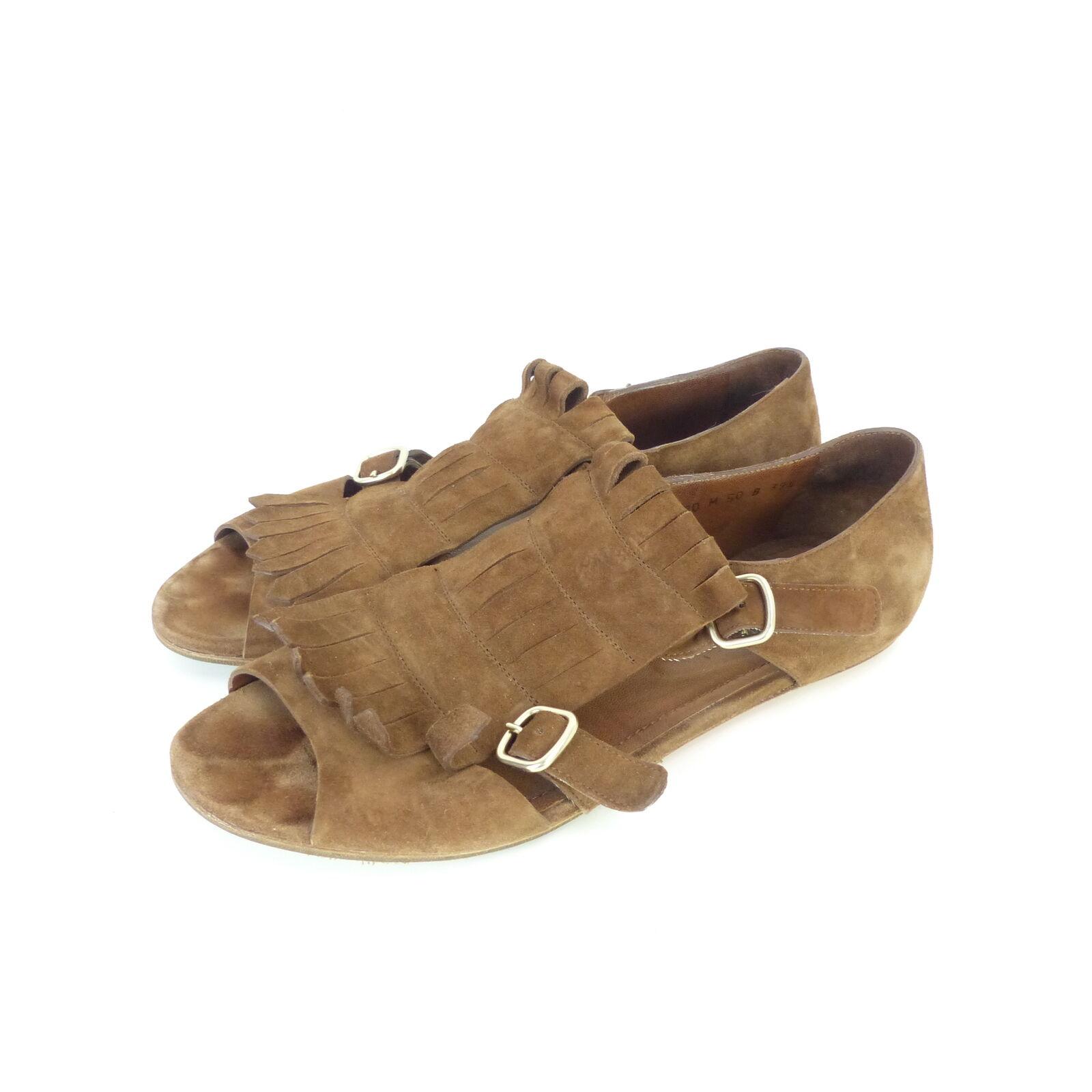 Santoni sandalia decorado gamuza de cuero marrón (sr32)