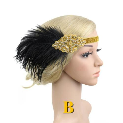 1920s Headband Vintage Bridal Gatsby Flapper Feather Rhinestone Beads Headpiece