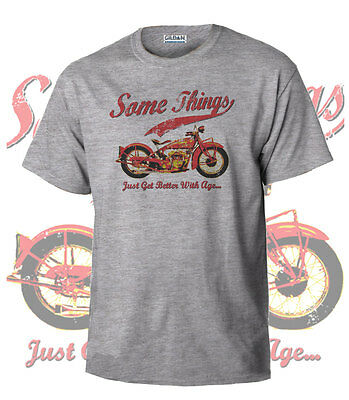 Somethings...Indian Bike Vintage Teeshirt Biker Motorcycle Retro Grey Shirt