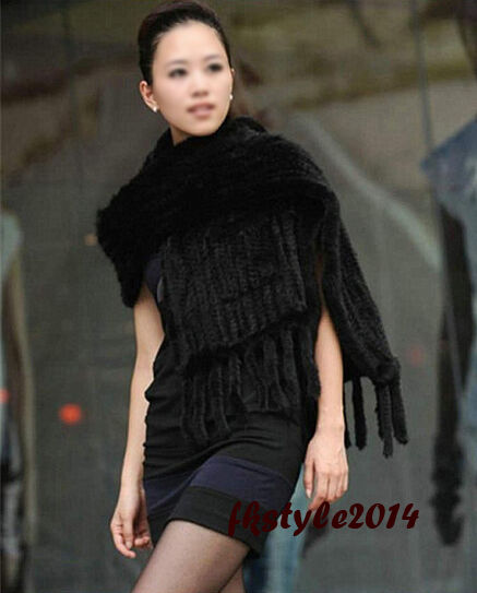 100% New Real Genuine Knitted Mink Fur Cape Stole Shawl Scarf Wrap Women Party