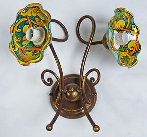 Applique-lampada-ceramica-decorata-led-ferro-battuto-artigianale-rustico-art-706