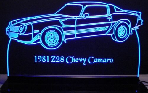 """1981 Camaro Z28 Side Edge Lit 12/"""" Lighted Led Sign Plaque 81 Mirr Made in USA"""