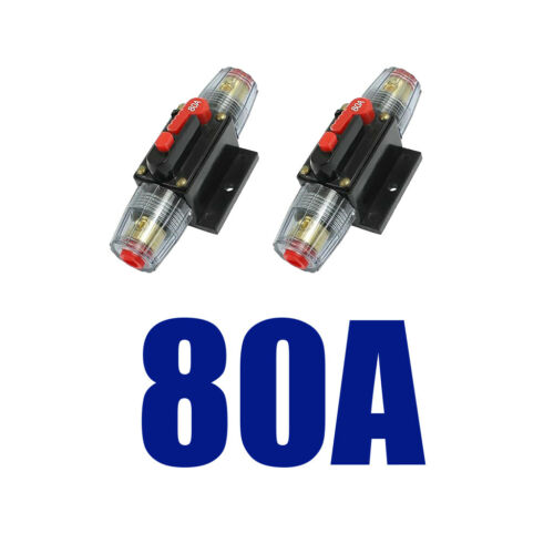 2x DC Self-resetting Inline Circuit Breaker Fuse for System Protection 80A