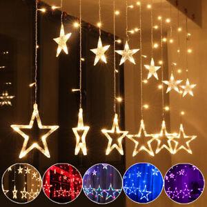 138 Led Lichterkette Sterne Lichtervorhang Weihnachten Fenster