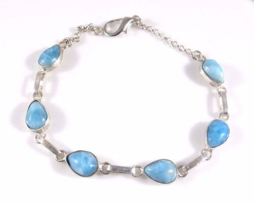 SUPERBE Ocean Blue Larimar bracelet argent sterling 925 7.25 in environ 18.41 cm