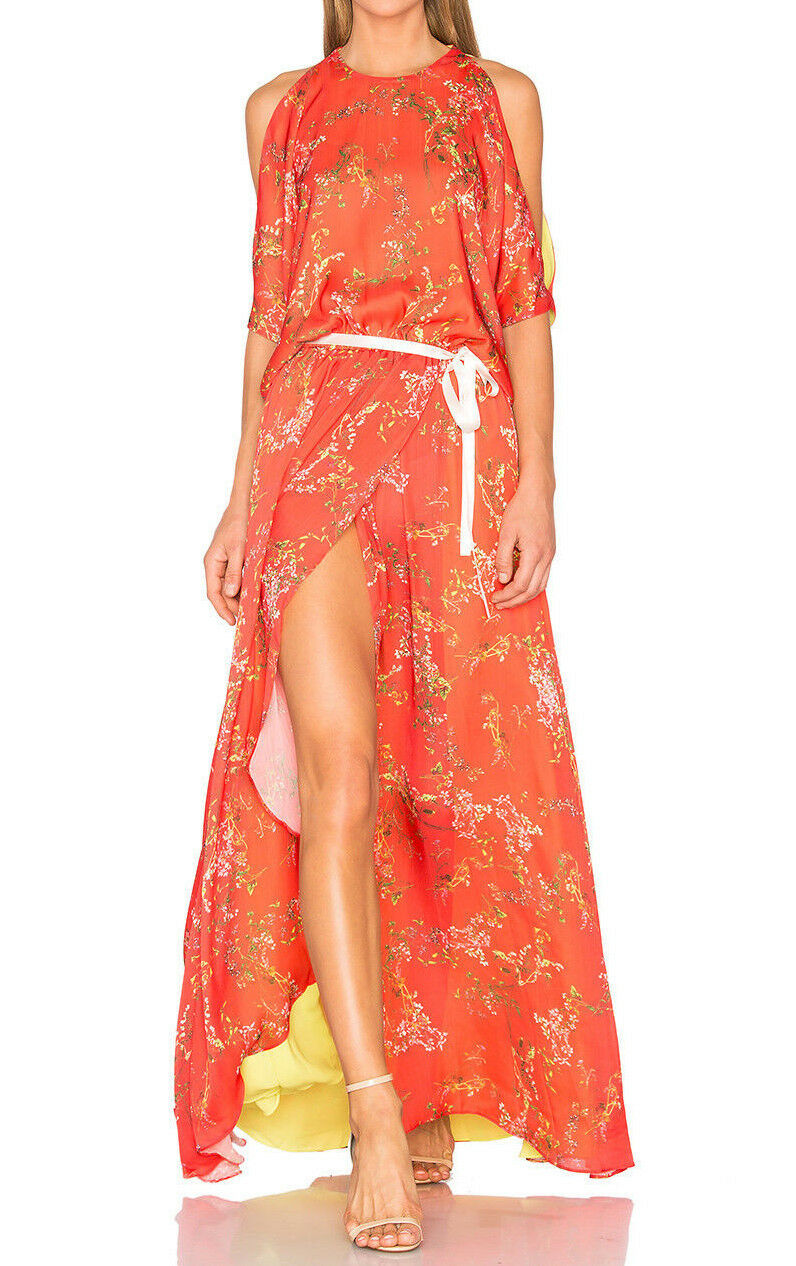 ALEXIS  ANGIA  COLD SHOULDER HI LOW MAXI DRESS GOWN in BLOOMING rot L