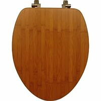 Mayfair 19401ni 568 Solid Bamboo Toilet Seat With Brushed Nickel Hinges, Elongat on Sale