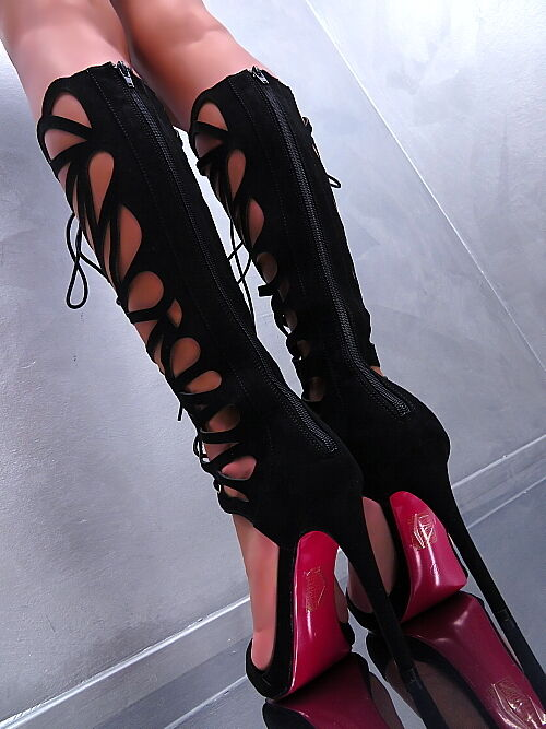HOHE N87 Lange Stiefel 1 cm Plateau Damen Luxus Boots N87 HOHE Schuhe High Heels 35 9e5efa