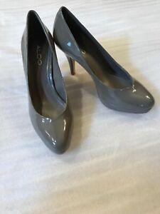 97dc7bb226bb New Aldo Pumps Women s 39 8.5 Gray Patent Leather Platform Pumps ...