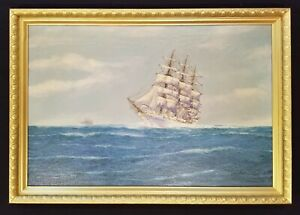 Antique Clipper Ship Original Oil Painting Seascape Maritime Nautical Sailboat