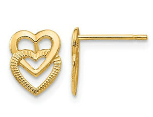 Double Heart Post Earrings in 14K Yellow Gold