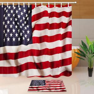 Rustic Decor American Usa Flag Shower