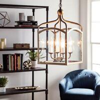 Lantern Glass Chandelier Hanging Pendant Metal Cage Light Fixture Foyer Lighting