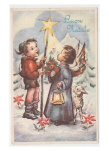 Immagini Natalizie Anni 50.Dettagli Su Stella Cometa Cartolina Natalizia Con Bambino Angelo Buon Natale Anni 50 Vintage