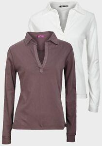 039-Wombat-039-Mujer-Camiseta-de-manga-larga-cuello-en-V-punta-Camisa
